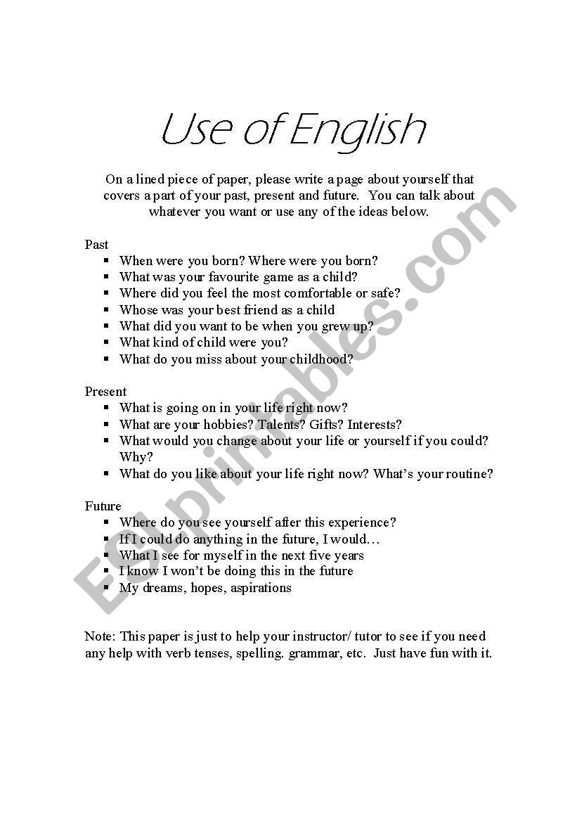 English worksheets: Use of English - Verb Tense Assessment