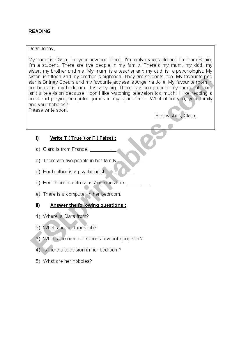 Reading Study worksheet