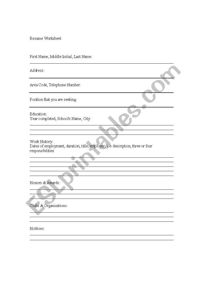 English Worksheets Sample Resume For Job Interview Lesson