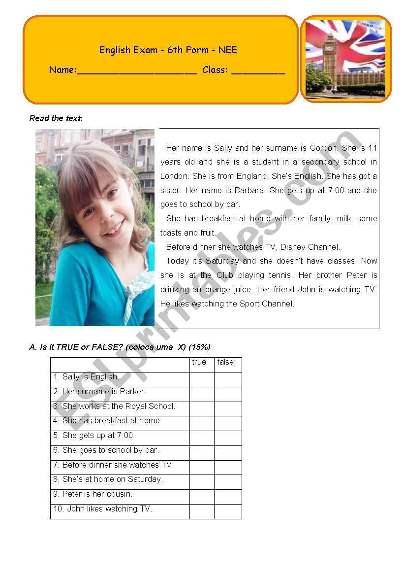 Exam - 6th Grade - 5 pages worksheet