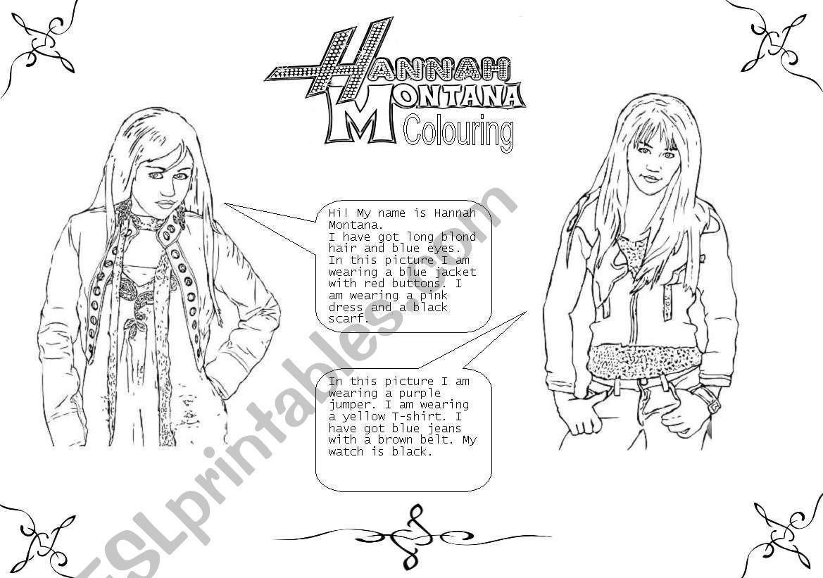 Colour Hannah Montana! worksheet