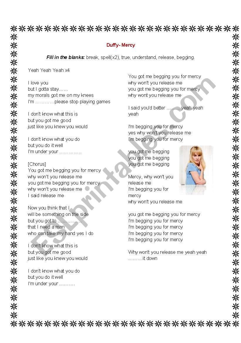 Duffy- Mercy Lyrics and Exercise