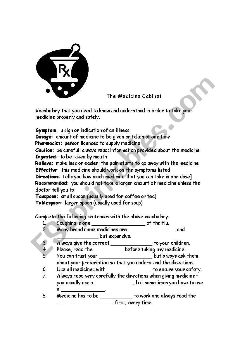 Medicine Cabinet worksheet