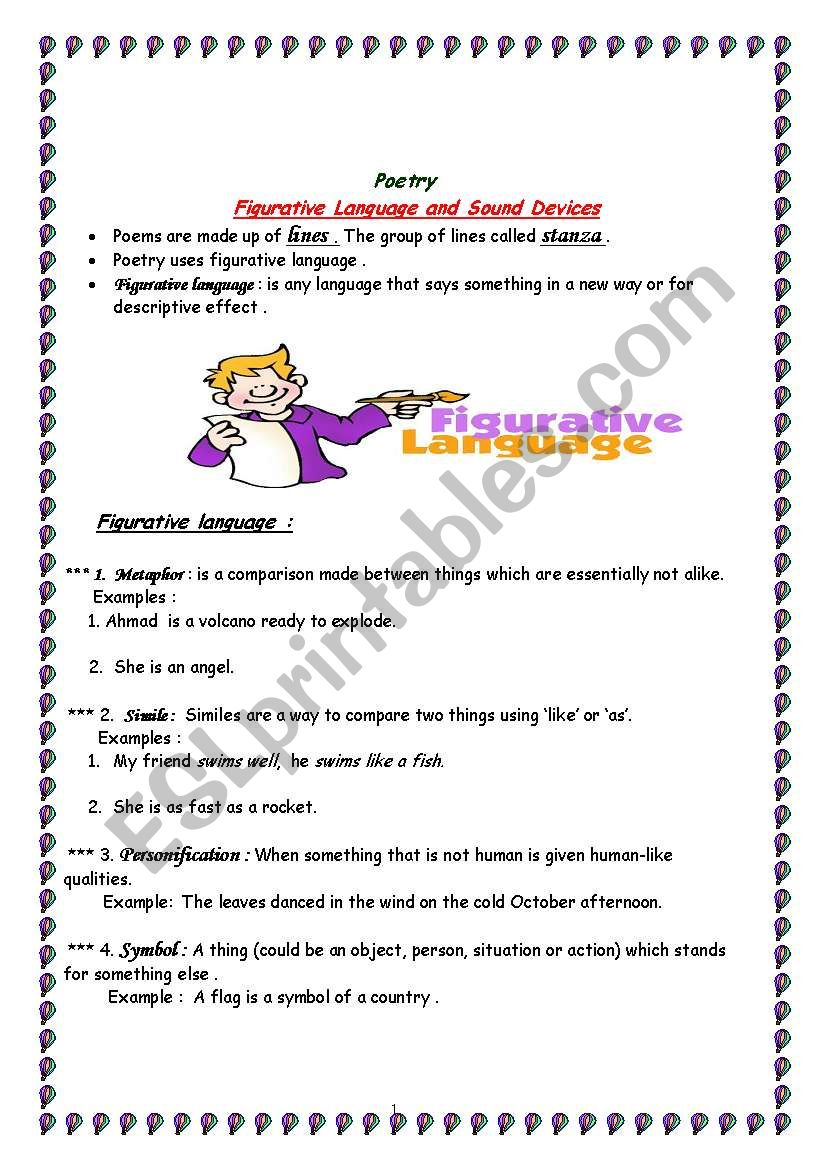 poetry skills ( figurative language+ sound devices ) - ESL Pertaining To Sound Devices In Poetry Worksheet