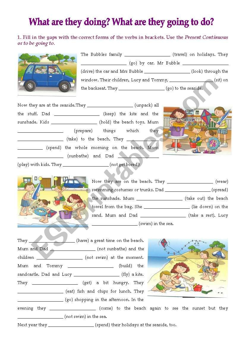 The Bubbles´ Holidays cloze worksheet