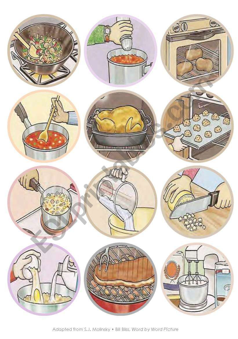 Mini Kitchen Verbs Flash Cards
