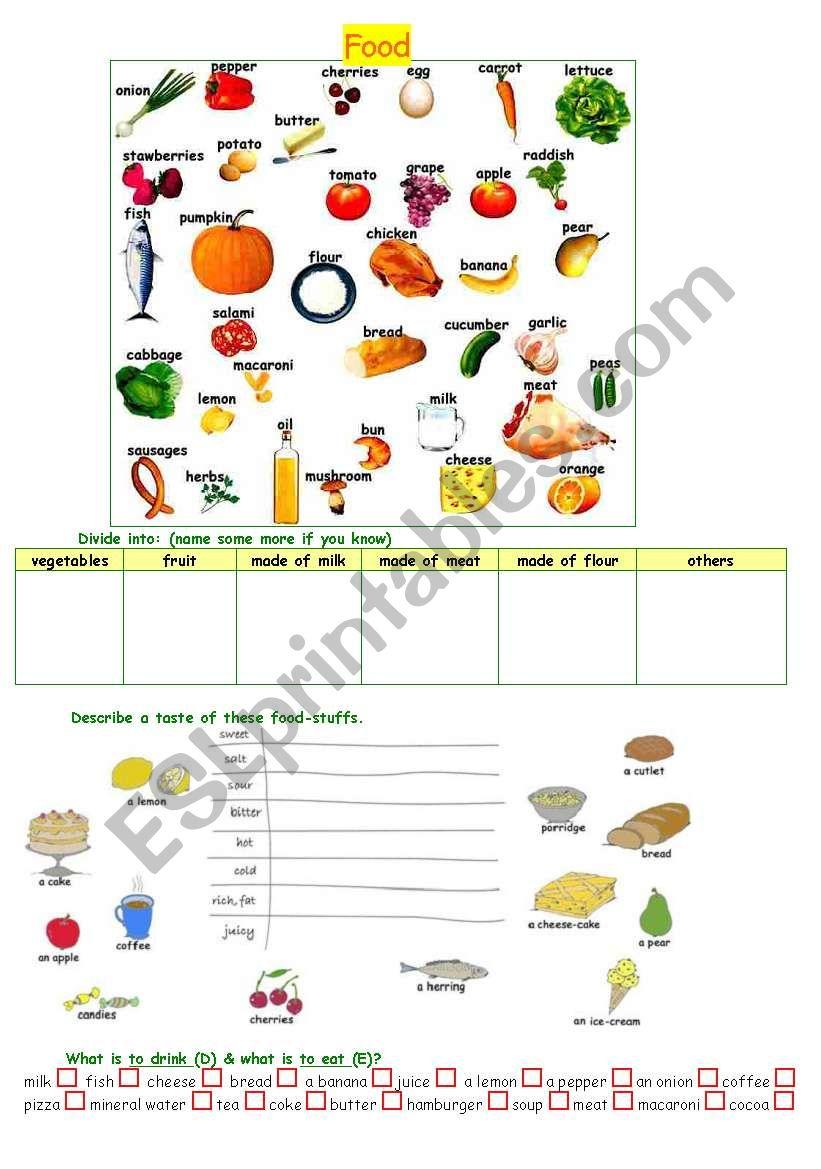 food-stuff worksheet