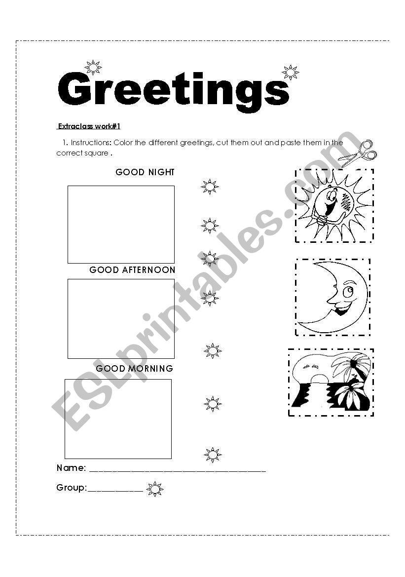English Worksheets Homework About Greetings