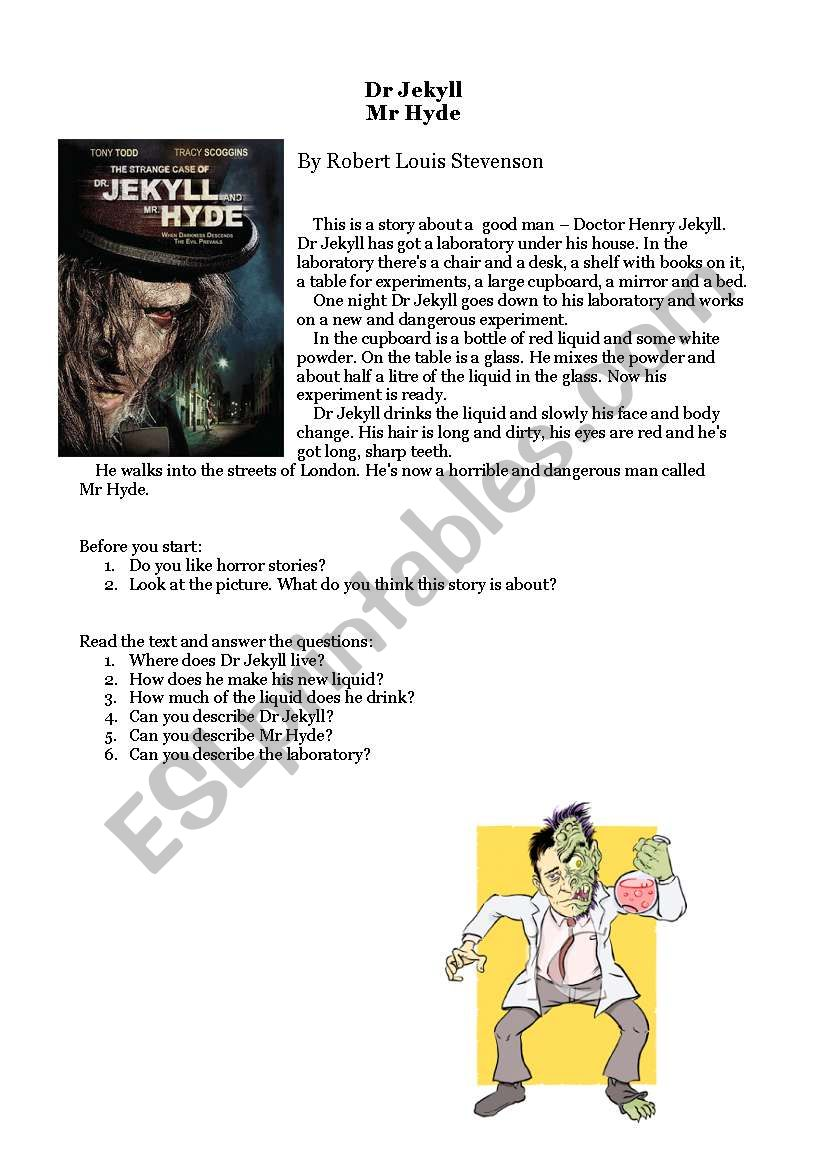 Dr. Jekyll and Mr. Hyde worksheet