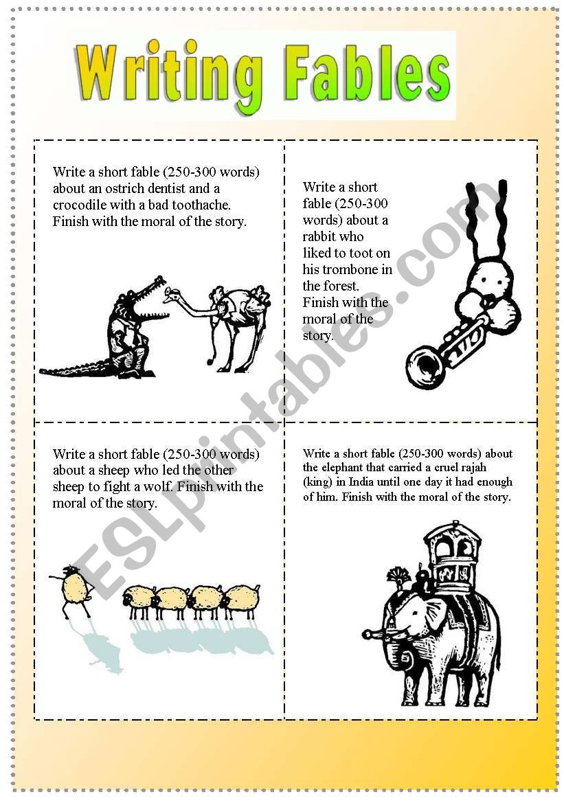 Writing Fables (8 Story Starters) - ESL worksheet by Kisdobos
