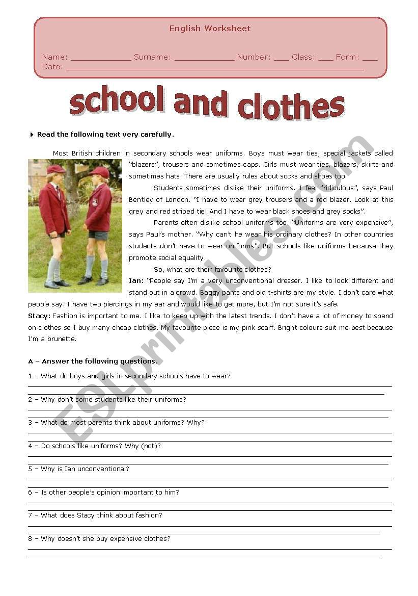 SCHOOL AND CLOTHES worksheet