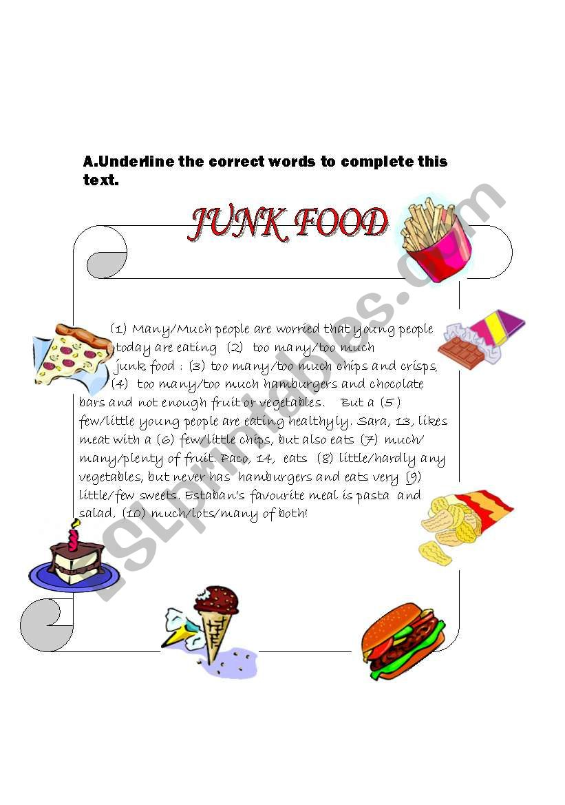 Junk Food worksheet
