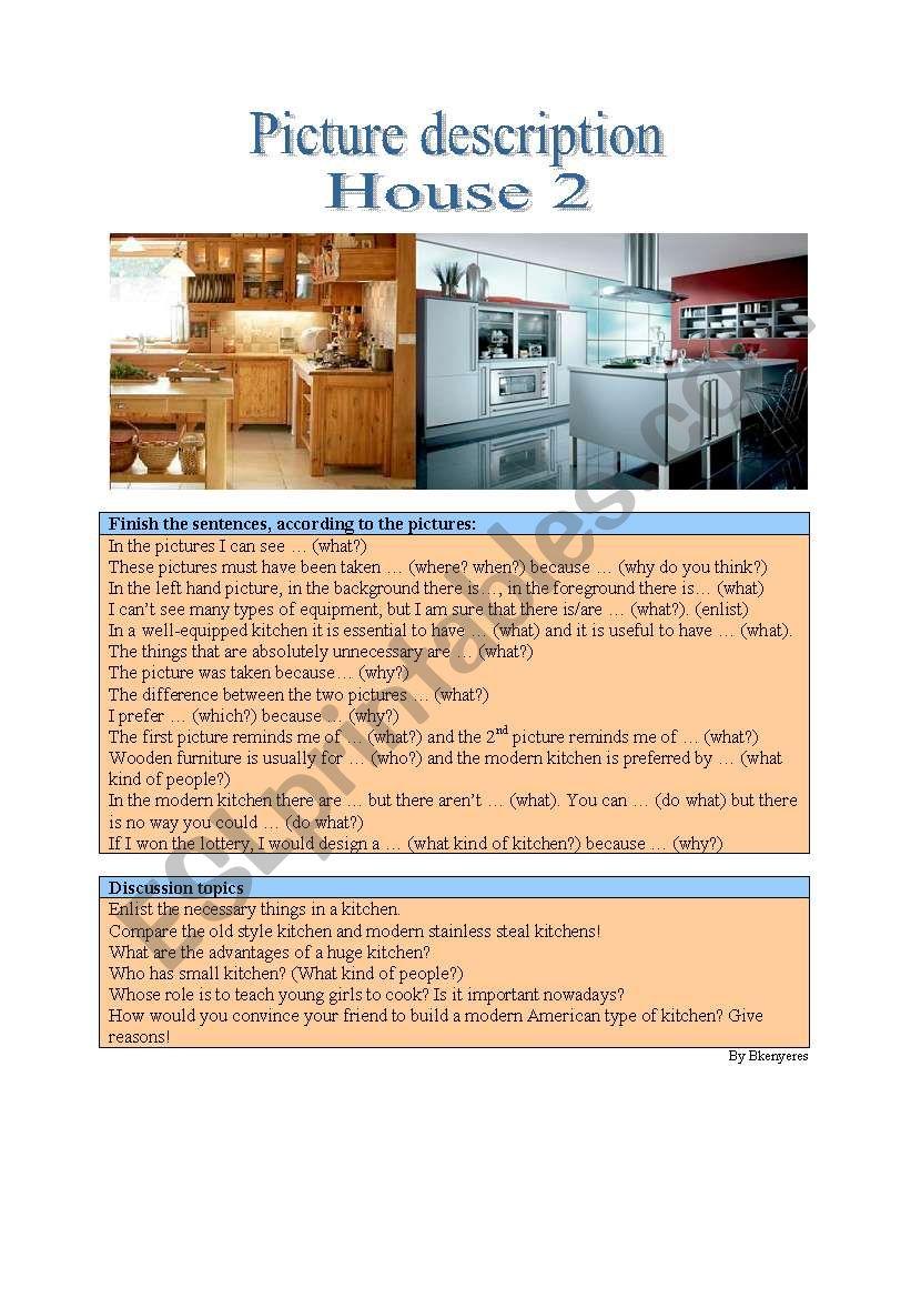 Picture description - House 2 worksheet
