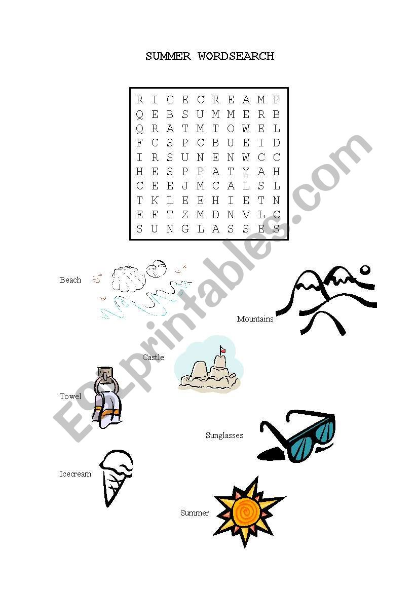 Summer Wordsearch worksheet