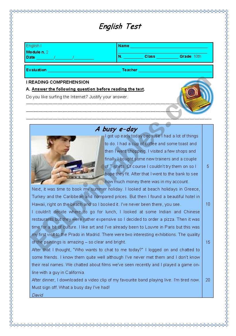 test - technology worksheet