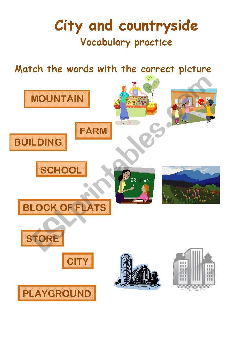City and countryside vocabulary practice