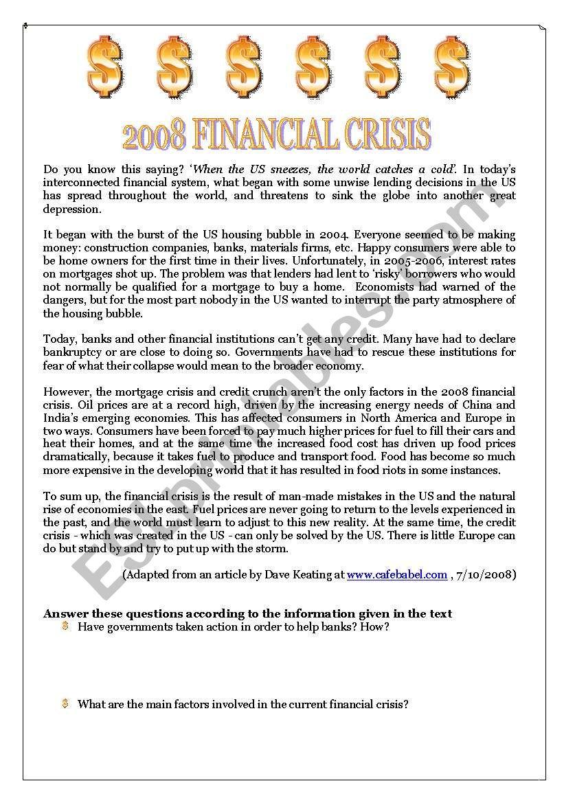Essay topics financial crisis 2008