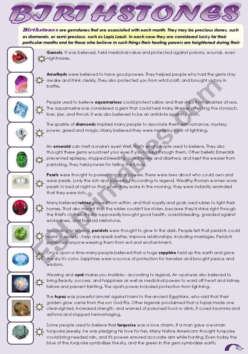 English Worksheets Birthstones Reading Your Birthstone
