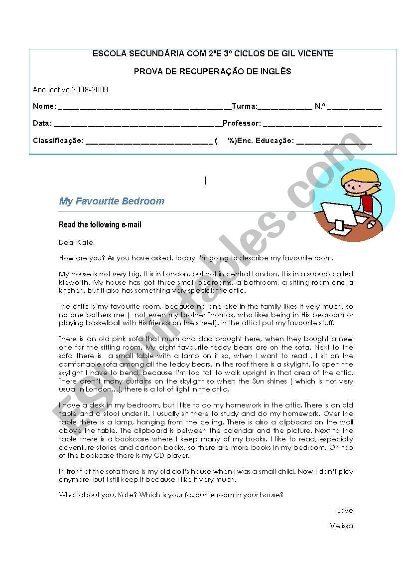 7th year Recovery Test worksheet