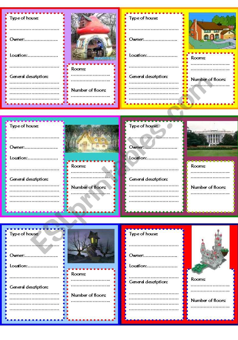 Describing houses creatively worksheet