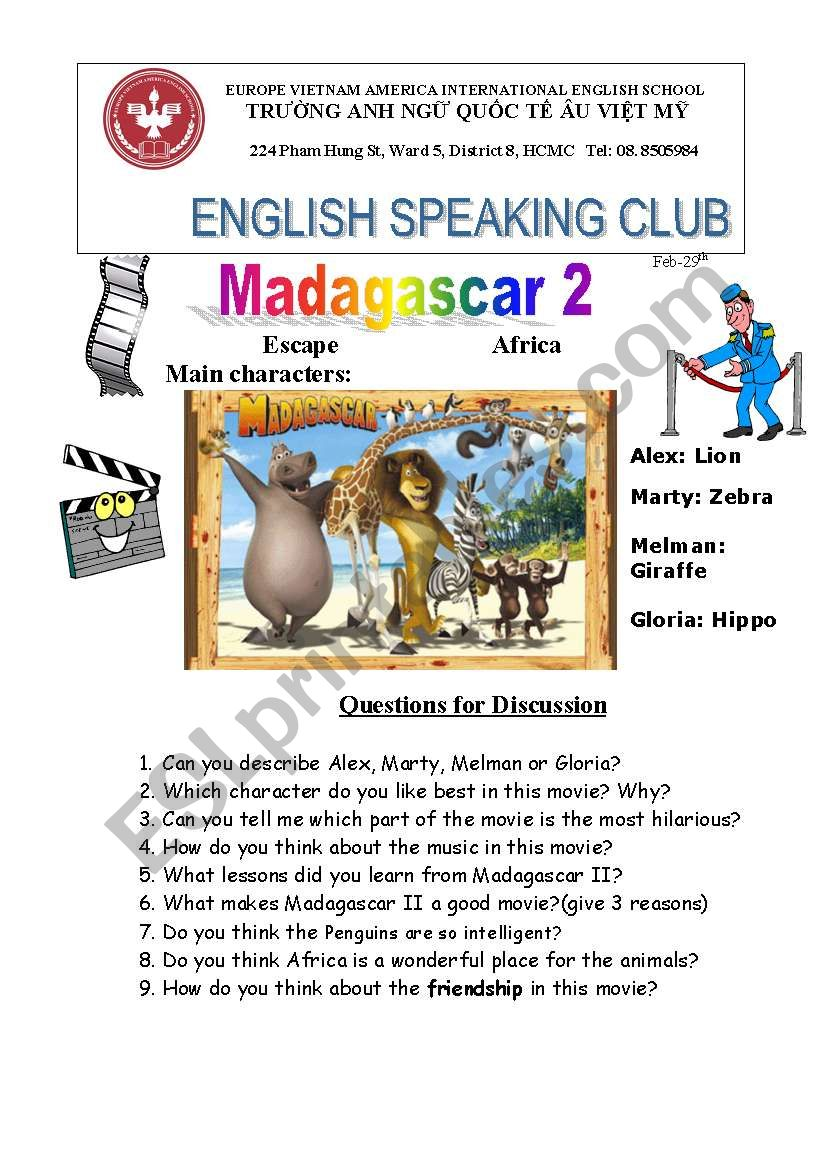 Madagascar movie 2 worksheet