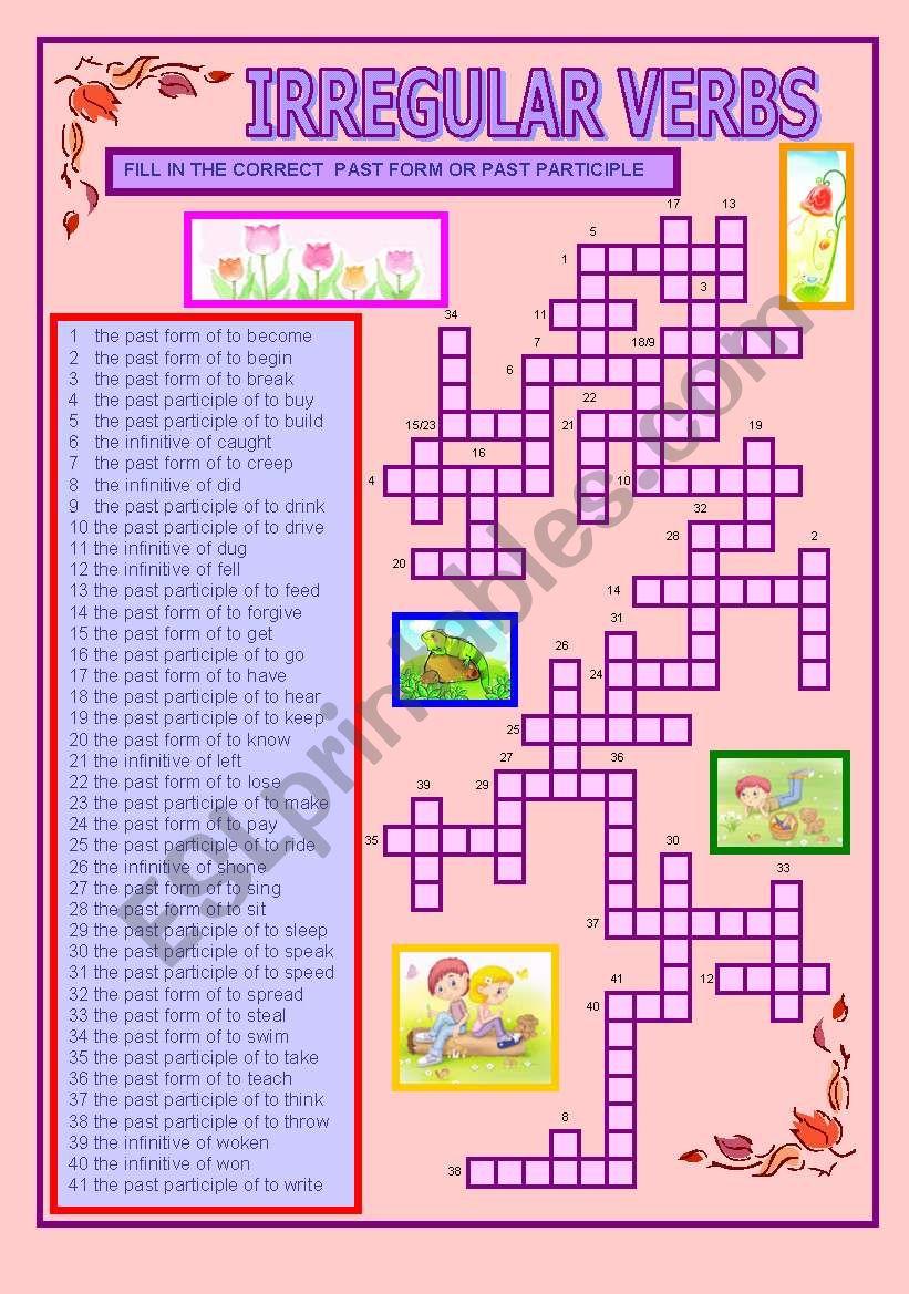 crossword on the irregular verbs (intermediate/upper-intermediate)