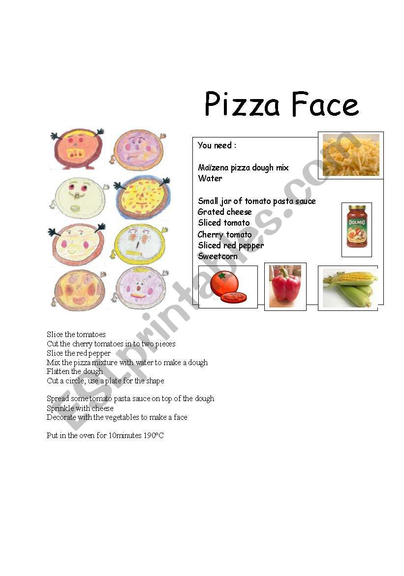 Make a Pizza Face  worksheet