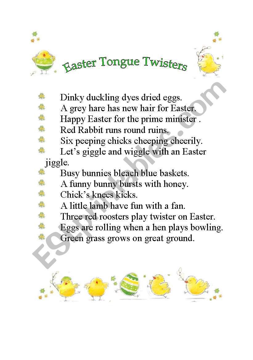 EASTER TONGUE TWISTERS worksheet