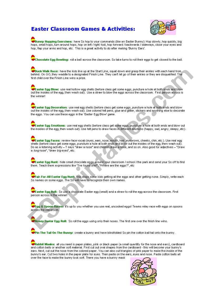 Easter Classroom Games worksheet