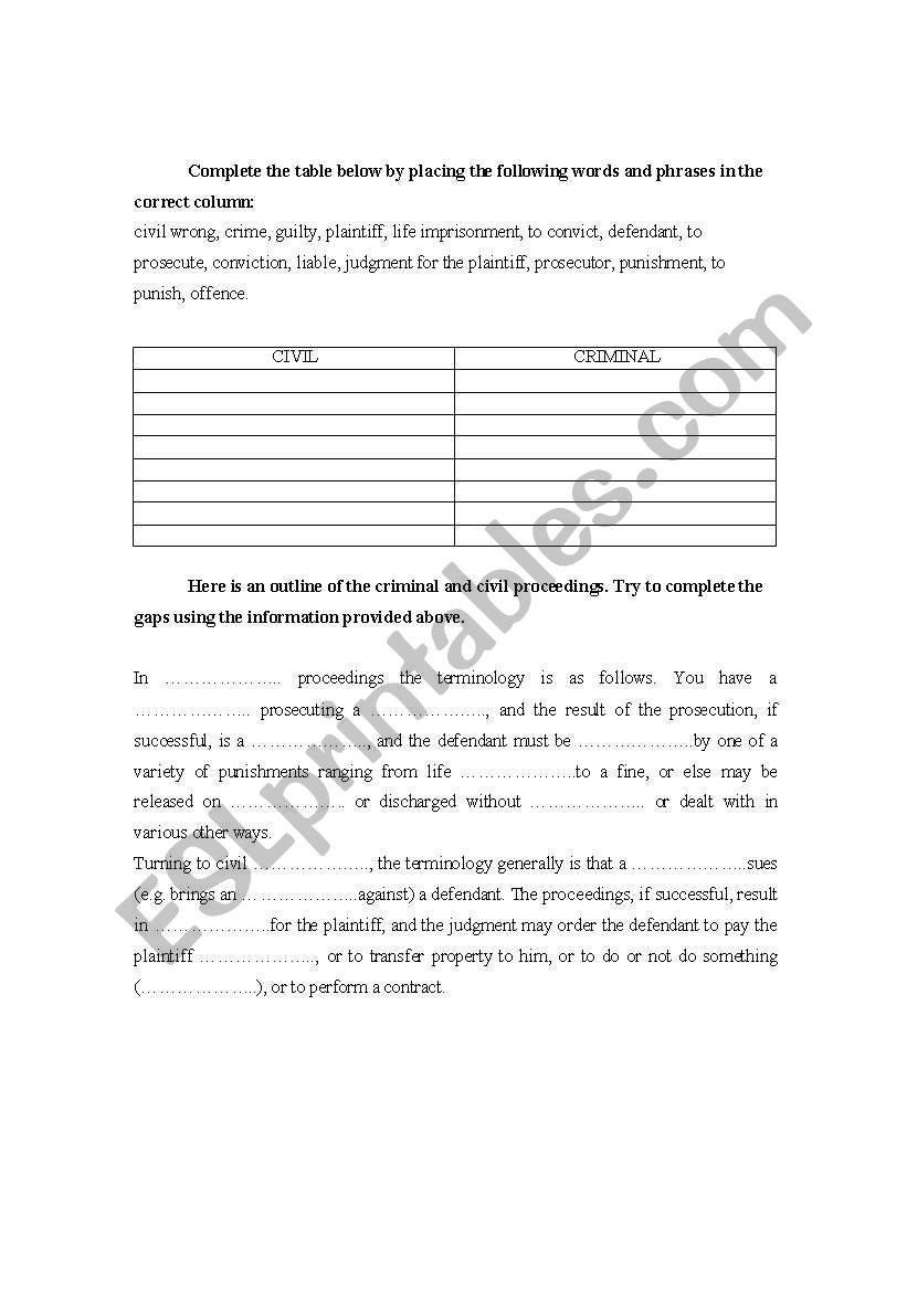 Civil vs criminal law worksheet