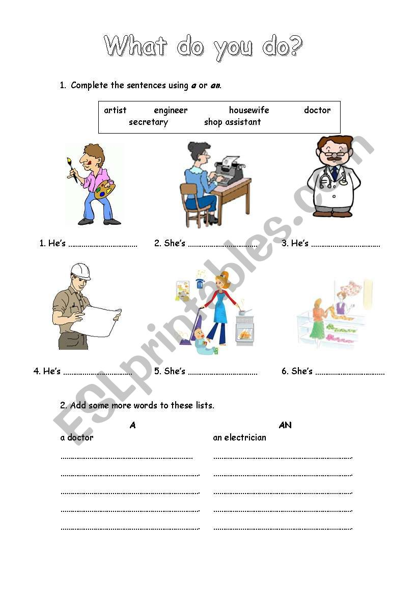 a or an worksheet