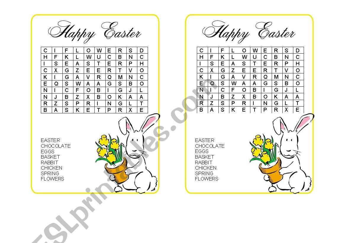 Easter-word hunt worksheet