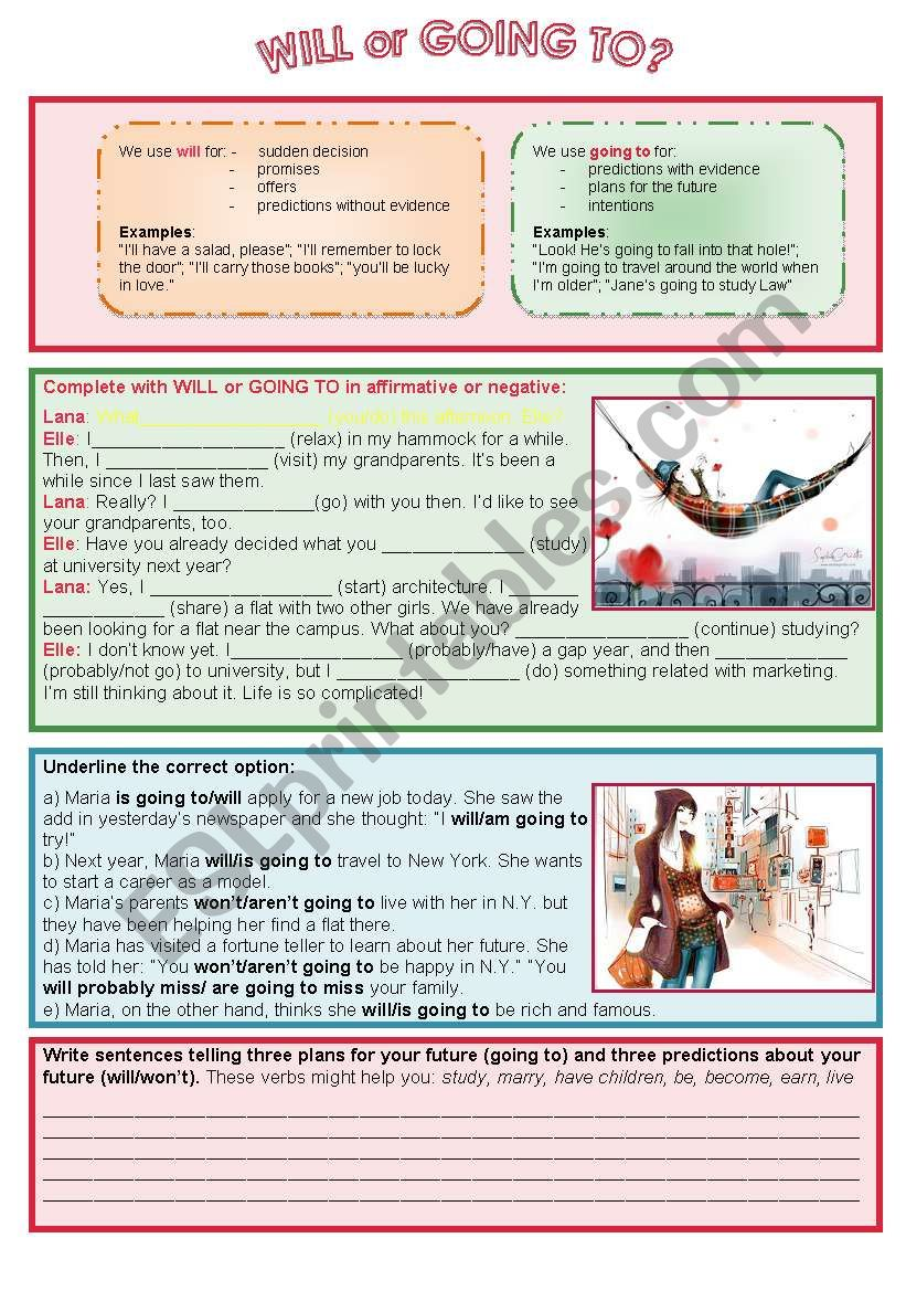 will or going to? - ESL worksheet by Nuria08