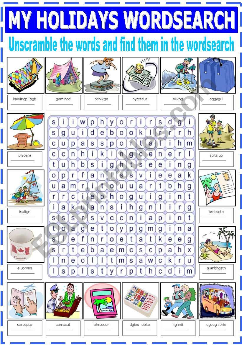 MY HOLIDAYS WORDSEARCH worksheet