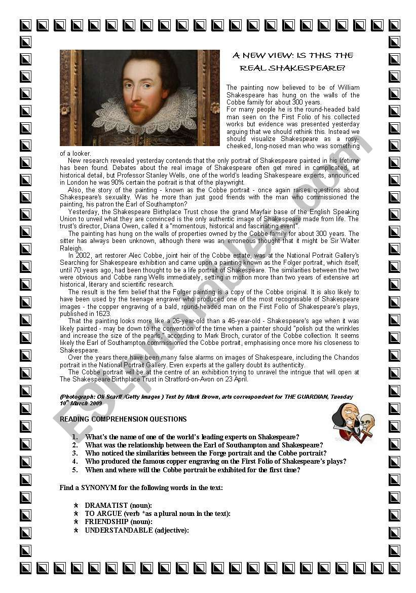 - SHAKESPEARE´S PORTRAIT READING COMPREHENSION (WITH ANSWERS) - ESL