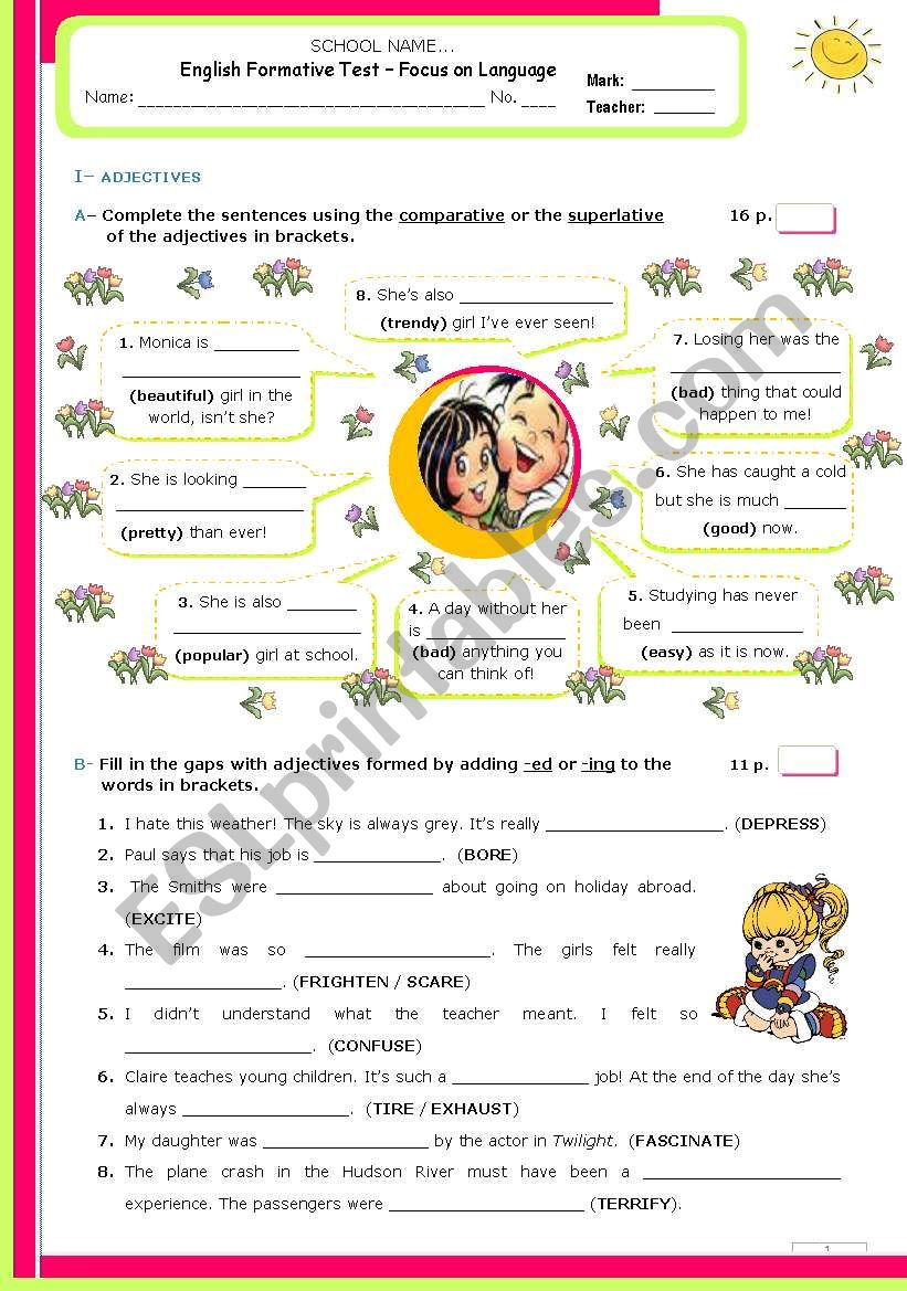 Grammar Formative Test for Advanced and/Or upper Intermediate students