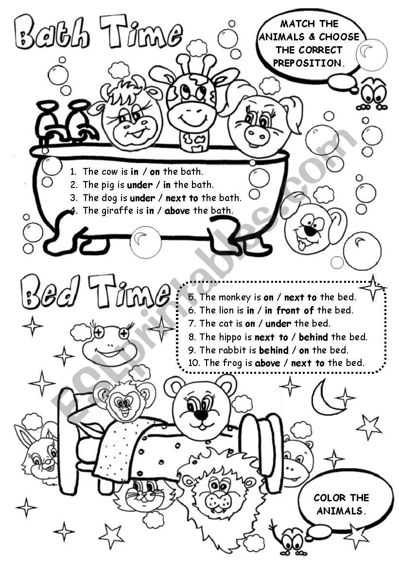 Bath Time / Bed Time worksheet