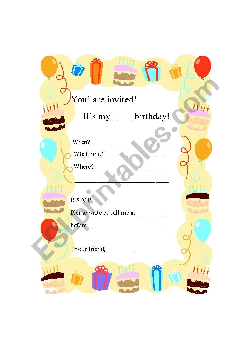 writing a birthday party invitation card esl worksheet by worldangel. Black Bedroom Furniture Sets. Home Design Ideas