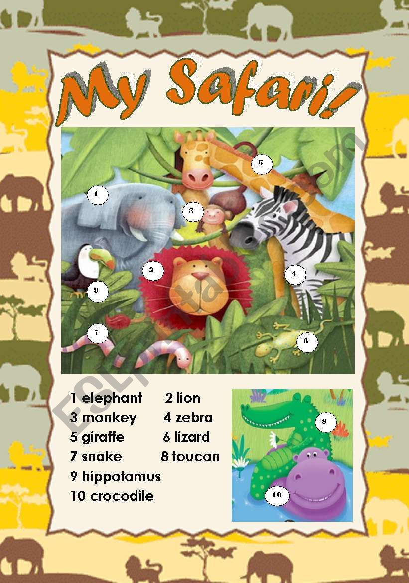 MY SAFARI! - CLASSROOM POSTER (WILD ANIMALS PICTIONARY) for young learners