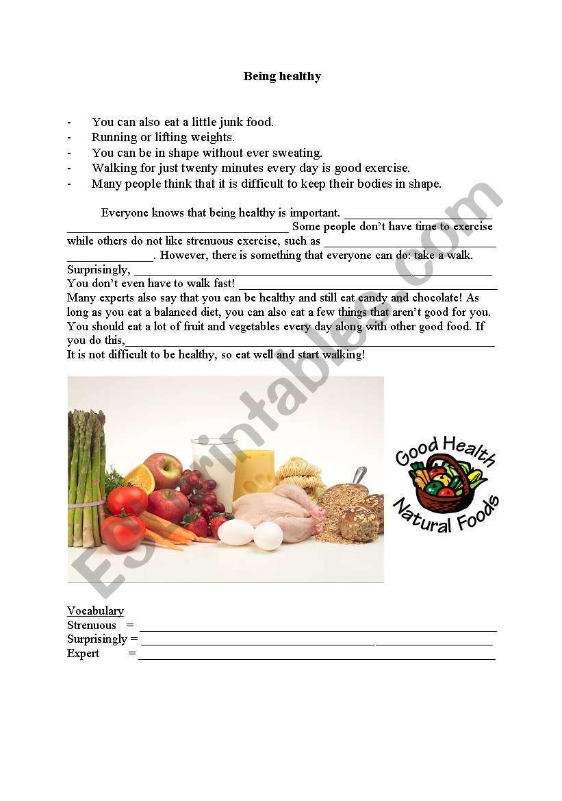 Being Healthy worksheet