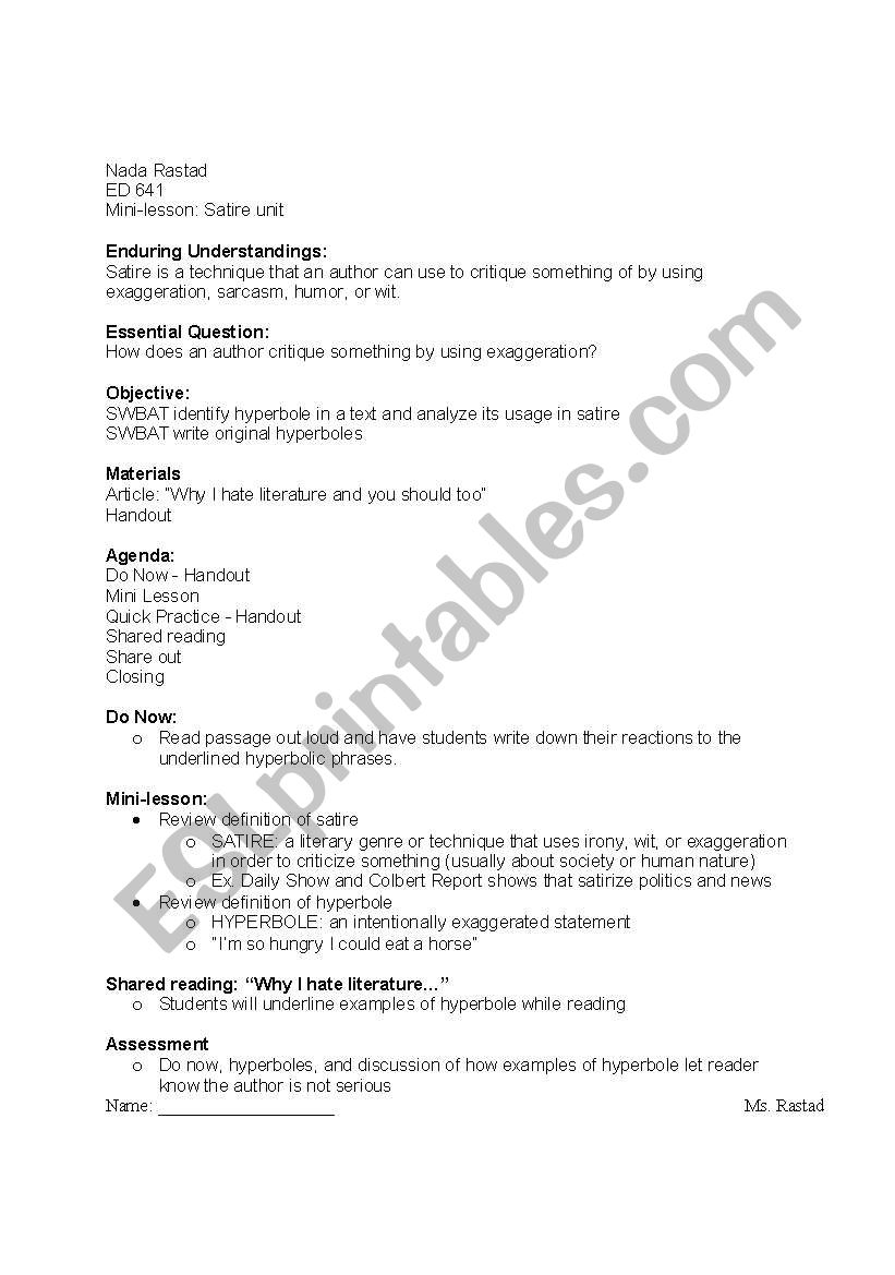 English Worksheets Hyperbole Lesson Plan And Worksheet