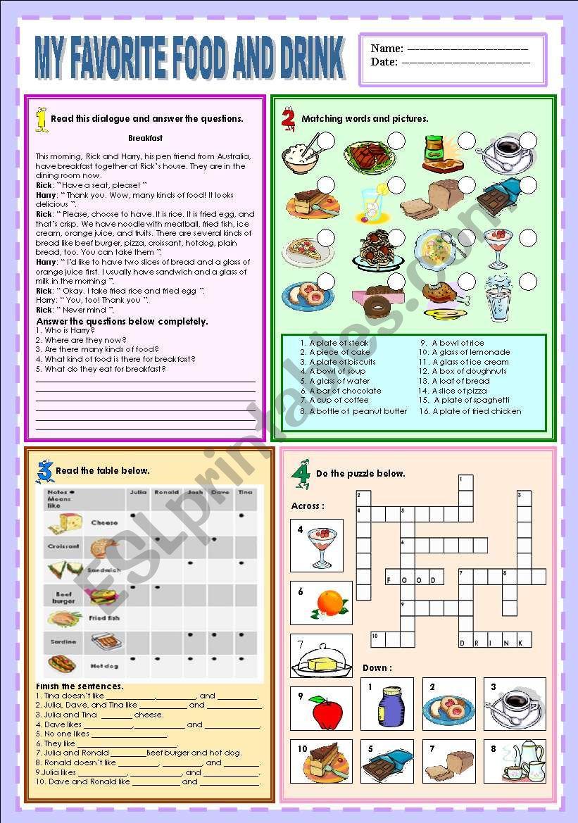 My favorite food and drink worksheet