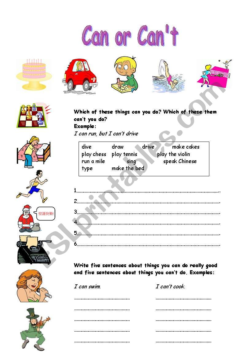 Can or can´t worksheet