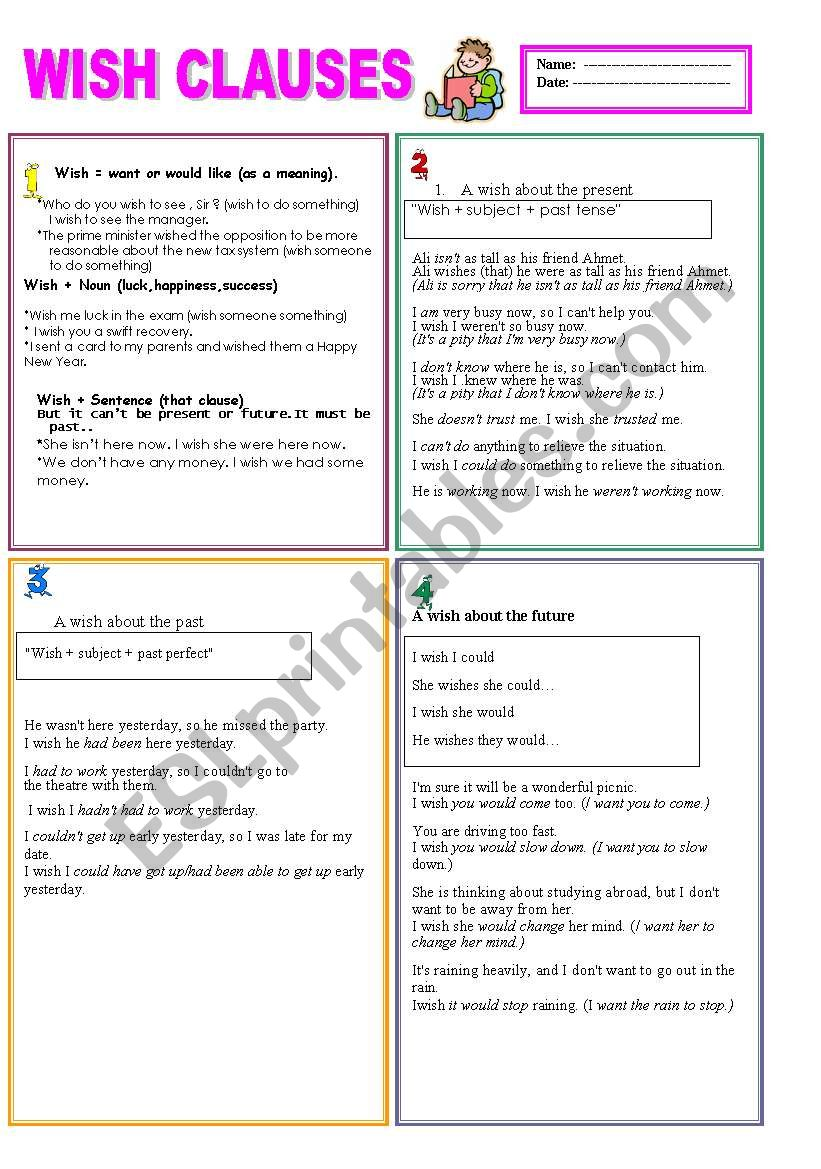 ´ WISH CLAUSES ´ 2 pages... worksheet