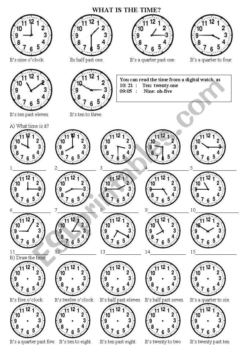 What is the time? worksheet