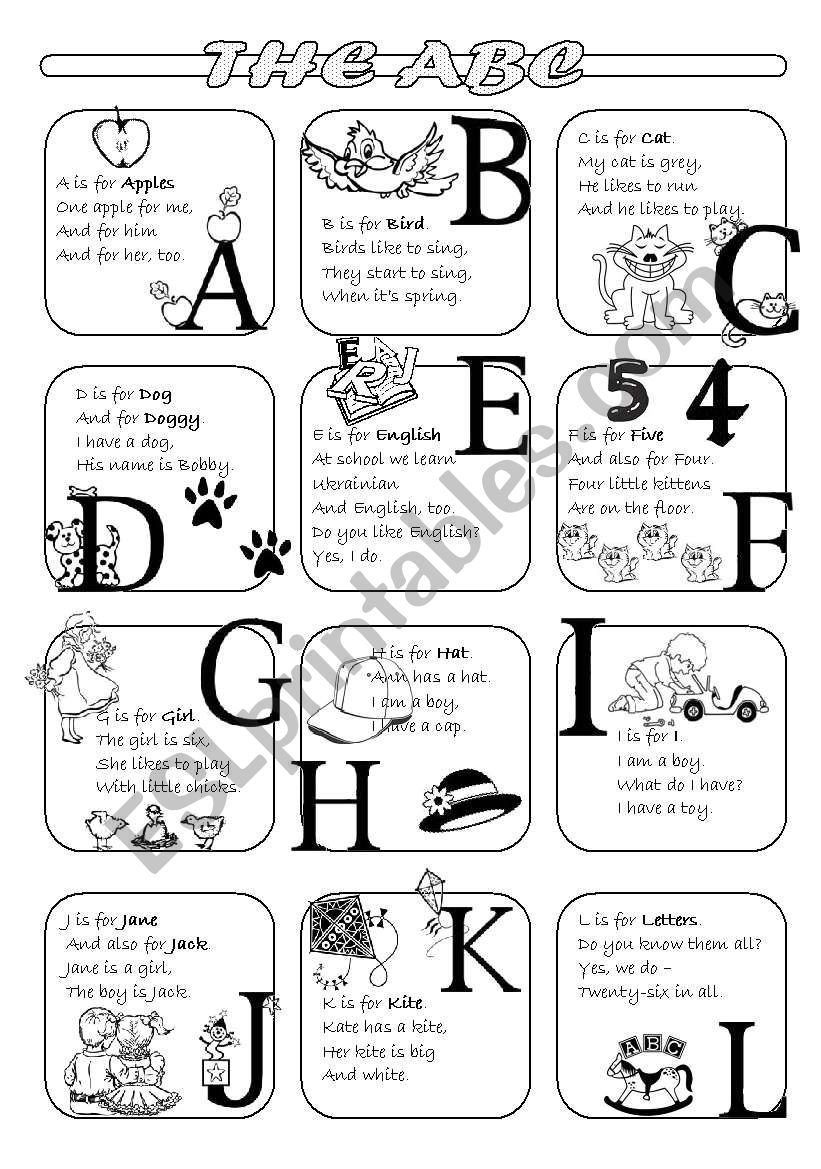 The ABC poems - Part 1 worksheet