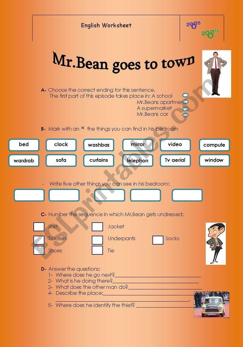 Mr.Bean goes to town worksheet