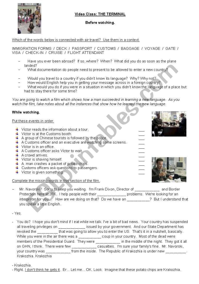 Film: THE TERMINAL worksheet
