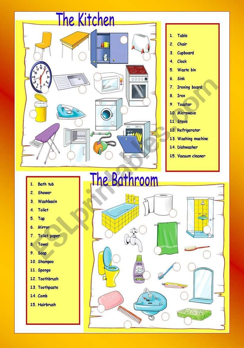 The Kitchen / The bathroom worksheet
