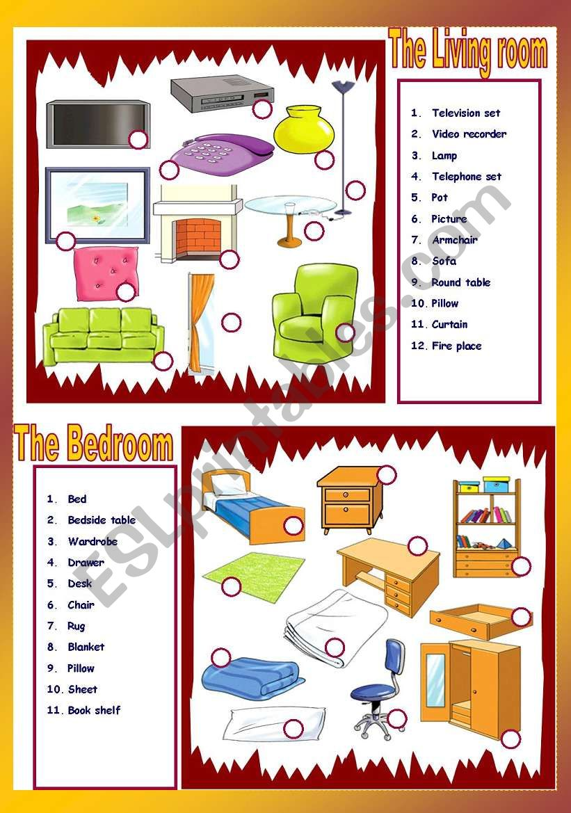 The living room / The Bedroom worksheet